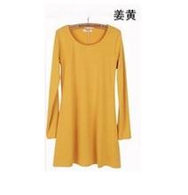 Fashion Clothes Women Dress 2014 Autumn Winter Dress Female 100% Cotton O-neck Long Sleeve Dress Woolen Dresses (China (Mainland))