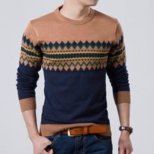 2014 Autumn Slim Round Neck Sweater Men Rhombus Printing Pullover Sweater(China (Mainland))