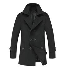 2014 New Men Trench Coat & Overcoat/ Long Double-Breasted Pea Coat Fo