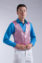 Bling male vest red blue powder for silver white yellow vest for singer compere toastmaster stars show party formal(China (Mainland))