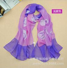 Women fashion 2015 NEW Hot! Generous bright chiffon Lotus flower lotus leaf hibiscus printed scarves female scarf Wholesale gift(China (Mainland))