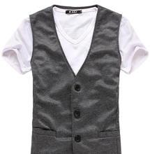 New 2014 Men Casual Vest  Male Brand Business Vest Men Fashion Waistcoat Undershirt Slim Fit Mens Vest M-XXL M11(China (Mainland))