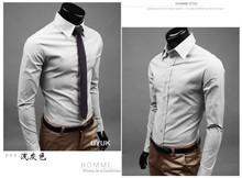 2014 Mens Dress Shirts Slim fit Unique neckline stylish Dress long Sleeve Men Shirt Casual Shirt 17colors ,size: M-XXXL F3793(China (Mainland))