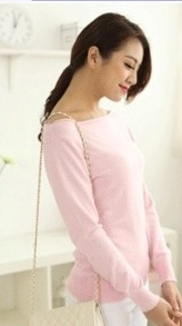Cashmere sweater collar women sweater big collar strapless neckline seam ladys basic pullover shirt