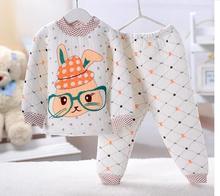Retail 2014 pyjamas Sleepwear thermal underwear  winter two-pieces suit baby boys girls clothes set children's apparel Cartoon(China (Mainland))