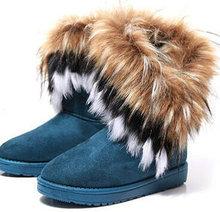 Caliente nuevo estilo de conejo zorro artificial diseño 4 de color de piel de mujer borla botas para la nieve botas altura mujeres zapatos zapatos gota / envío gratis SN01(China (Mainland))