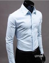 Free Shipping Men Shirt British Style Long-Sleeve Male Slim Casual Clothes Men's Cothing White Black Shirt New 2015 Wholesale(China (Mainland))