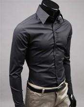 Free Shipping Men Shirt British Style Long-Sleeve Male Slim Casual Clothes Men's Cothing White Black Shirt New 2014 Wholesale(China (Mainland))
