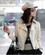 Free shipping 2013 Fashion Women's turndown Collar Rivet PU Leather Jacket Coat Lady Outerwear(China (Mainland))