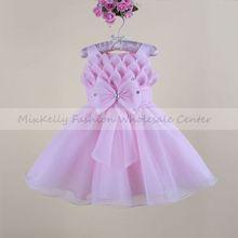 New 2014 Baby girls Princess wedding party flower sleeveless Dress kids girl bow tutu lace Tulle dresses girls dress 0-4years(China (Mainland))