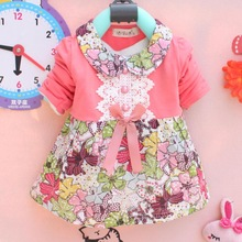 New Spring 2014 Baby Girls Fashion Cotton Cloth joining together the Dress, the Girl Princess Dress,3 color 0-2Y,Free shipping(China (Mainland))