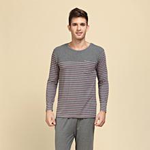 2014 New Modal&Cotton Women and Men Sleepwear Classic Stripe Lounge Wear Long-sleeve Lovers Pajamas Set Free Shipping(China (Mainland))