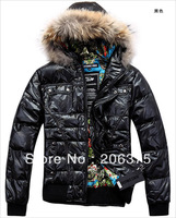 FREE SHIPPING 2014 New arrival Quality Men's printed coat with fur hood fashion Russian Winter Men Down Coat Jacket M L XL XXL