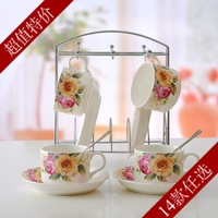 china  14 coffee  set fashion bone china gift 4  4 disgusts spoon rack  cup