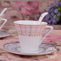 china love Fashion ceramic tea  bone china gift coffee  and saucer set spoon  cup