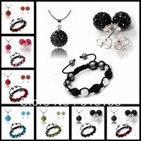 Shamballa Jewelry Set Matching 7 Pcs Disco Balls Shamballa Bracelets/ Earring/ Necklace Pendant Set