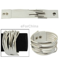 Fashionable Multi-layer PU Leather Bracelet Wristband Wrist Ornament Jewelry with Snap Button (White)