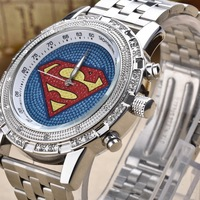 2013 top brand Superman super man watch with diamond dia stainless steel band for men quartz watch fashion hiphop star