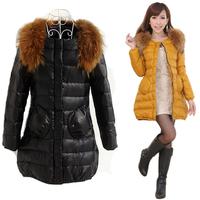 2012 female medium-long slim fashion cape large fur collar down coat outerwear