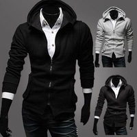 2014 Free Shipping men Fashion color cardigan jacket Fleece Hoodie male self-cultivation thickening high quality hot M-XXL