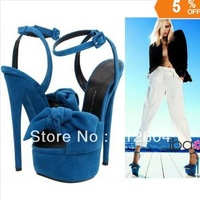 2013 fashion Suede leather bow tie sandals platform high heel dress shoes buckle sandals Free shipping about 18cm
