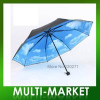 Free shipping/New design Blue Sky  Three Fold Umbrella Anti-uv Vinyl Sun Protection Umbrella Heaven Printed