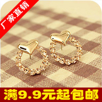 2191 small accessories sweet heart circle  stud earring 3g