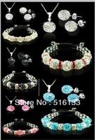 Genuine Shamballa Jewelry Set 10mm CZ Crystal Bead Silver chain Sets Necklace/Earrings bracelet