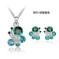 New hot sale rhinestone 18KGP Jewelry sets necklace,ring,earring Made with Genuine SWA Elements Austrian Crystals SP0189