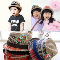 tz025 Free shopping 1pcs 4color Han edition children hat/embroidery label/hemp straw hat /jazz.cap in baby boy/straw hat