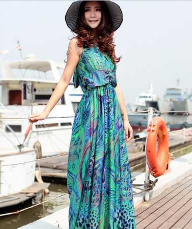2013 new peacock feather dress honeymoon holiday beach dress hang mop cuny even the garment skirt in summer(China (Mainland))