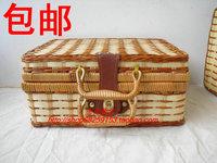Wicker chest bamboo willow storage box storage basket storage basket straw braid box knitted crafts