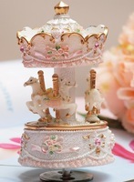 Free Shipping Merry-Go-Round Music Box Castle in the Sky Wind-up Music Box Girls Birthday Gift
