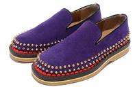 2013 men new arrival purple black suede red sole rivets metrosexual shoes