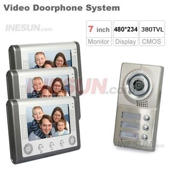 3 Units Apartment Video Doorphone Intercom System 3x 7 inch Monitor 380TVL IR Camera (INS-SY1T3)