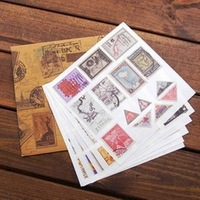 decoration stickers Three wood europe vintage stamps personalized 6sheets/set decoration for laptop travel bag or diary book