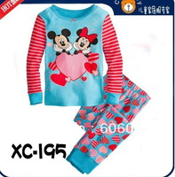 2013 new children kids pajamas sleepwear clothes sets cotton minnie mouse cartoon pajama girls boys clothing set brge