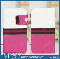 Dual Colored Leather Case For iPhone 4 4S.Mix /Match Design Leather Flip Case For iPhone 4 4S Cover Skin.
