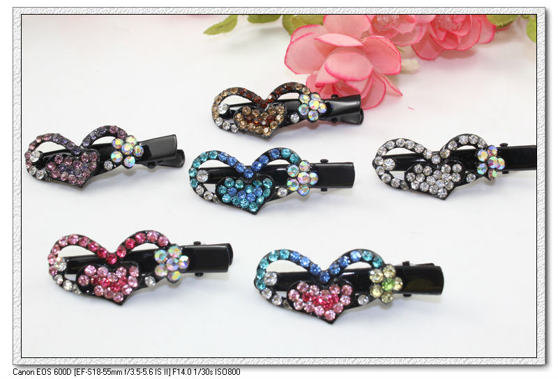 1.8'' blended color cute black plated heart & flower crystals french hair clip, crocodile hair grips, hairpins,A1030(China (Mainland))
