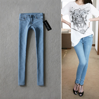 Free Shipping 6025 skinny pants light color water wash jeans trousers all-match pencil pants women's jeans