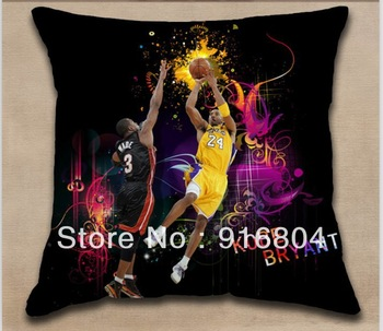 Free Shipping !! Cool Basketball Super Star  Kobe Bryant Printed Design Cushion Cover With 40cm*40cm Size