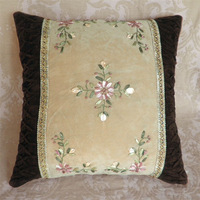 suede fabric handmade ribbon embroidery with flower designs hand made cushion cover without filling 43''retail or Wholesale J002
