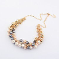 New fashion shinning golden balls simulated pearls Choker Necklaces for womans Min.order $15