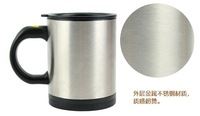 Free shipping 2013 hot sale automatic coffee mixing cup mug stainless steel  self stirring mug Plain Lazy Self Stirring Mug