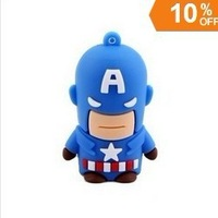 wholesales! Genuine new fashion 4gb/8gb/16gb/32gb cartoon Captain American usb 2.0 emory pen disk thumb/stick/gift