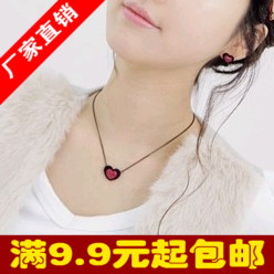 4001 small necklace double layer stereo love necklace double heart design of love short necklace(China (Mainland))