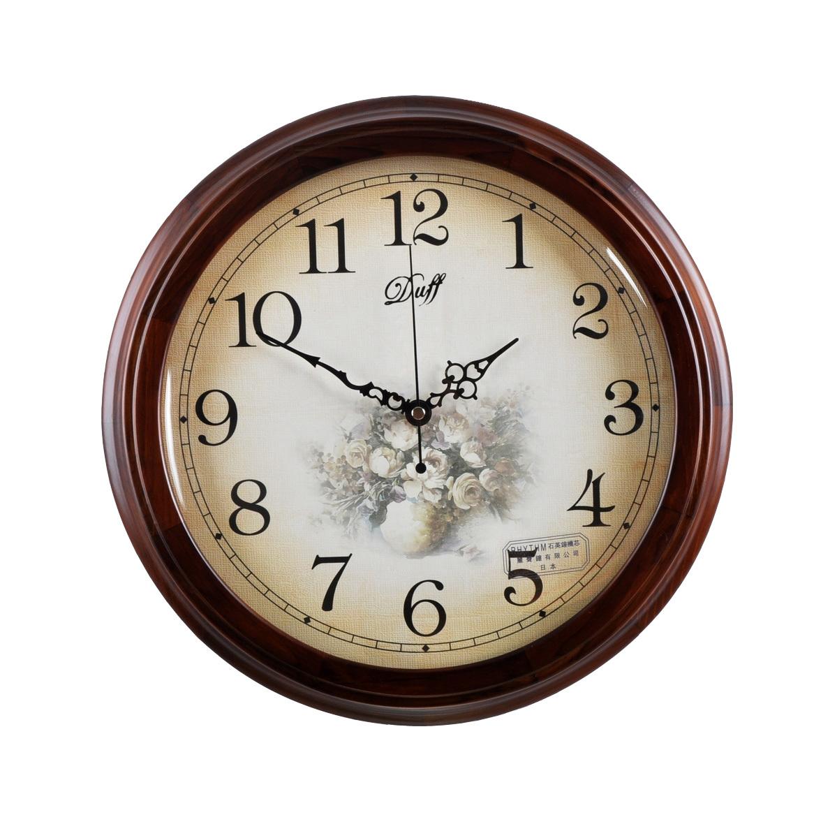 Daf duff fashion rustic silent movement wood quartz clock wall clock 171(China (Mainland))