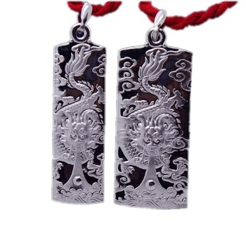 999 pure silver necklace 999 fine silver pendant zodiac dragon male Women lovers silver chain 99 fine silver jewelry