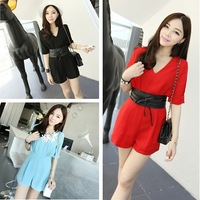 1pc free shipping 2013 women's fashion outfit shoulder pads V-neck jumpsuit  shorts pants rompers