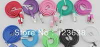 10pcs/lot,V8 Flat Noodle cable 1m extension cable Micro USB Cable for Blackberry,Sumsung Galaxy S4 S IV i9500 i9300 N7100 HTC